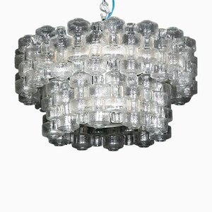 Mid-Century Glass Chandelier from Orrefors, 1970s