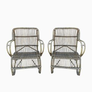 Vintage Rattan Garden Armchairs, Set of 2