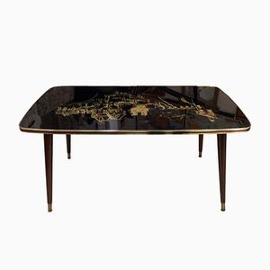 Vintage French Coffee Table with Picture