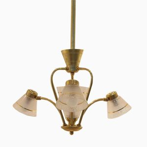Mid-Century Glass Diabolo Shaded Chandelier