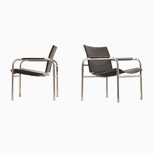Easy Chairs Sling en Chrome et en Cuir, 1970s, Set de 2