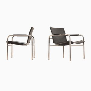 Sling Leather & Chrome Easy Chairs, 1970s, Set of 2