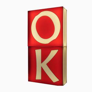 Große Dreidimensionale Beleuchtete Mid Century Buchstaben O & K