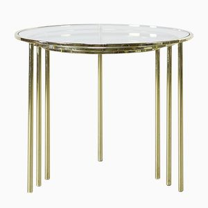 Mid-Century Glass and Brass Round Nesting Tables