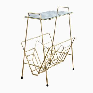 Vintage Magazine Rack with Glass Top