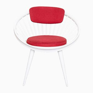Red & White Circle Chair by Yngve Ekstrom for Swedese, 1960s