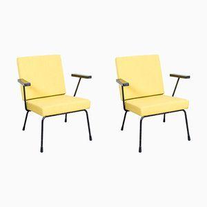 Gelbe 1401 Armlehnstühle von Wim Rietveld für Gispen, 1950er, 2er set