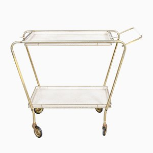 Dutch Mid-Century Brass and Metal Serving Trolley, 1950s