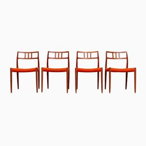 Orangefarbene Vintage Esszimmerstühle von Niels O. Møller für J.L. Møllers, 4er Set