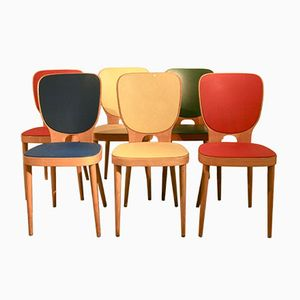 Mid-Century Multi-Colored Beechwood Side Chairs by Max Bill for Horgenglarus, 1950s, Set of 6