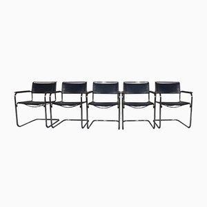 Vintage S34 Freischwinger Leder Stühle von Mart Stam für Thonet, 5er Set