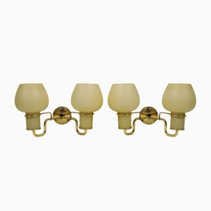 Vintage Sconces with Double Opaline Glass Shades from Lyfa, Set of 2