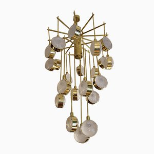 Italian Modern Mid Century Brass and Glass Chandelier