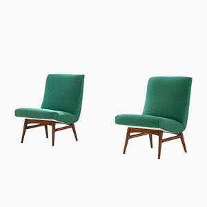 Danish Green Easy Chairs, Set of 2