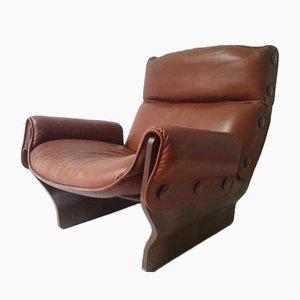 Cognacfarbener Canada Lounge Sessel von Osvaldo Borsani