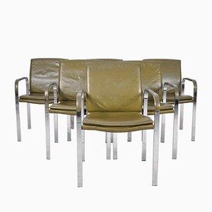 Olivfarbene Italienische Vintage Esszimmerstühle aus Leder & Chrom, 6er Set
