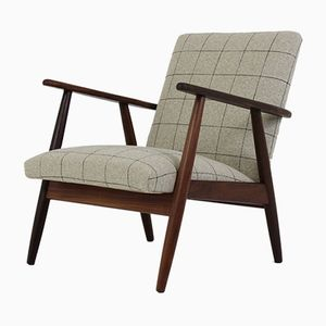 Danish Teak Easy Chair with Grey Check Upholstery, 1960s