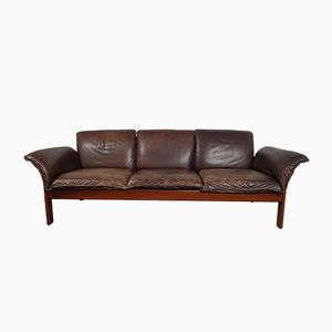 Vintage Teak and Leather Sofa, 1960s