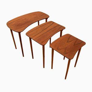 Tables Gigoggnes en Teck, Danemark, 1960s, Set de 3