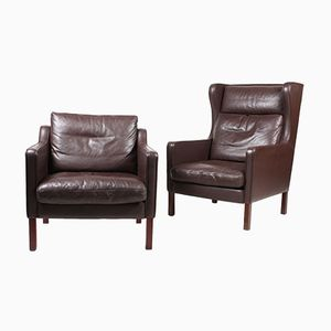 Danish Leather Lounge Chairs, 1980s, Set of 2