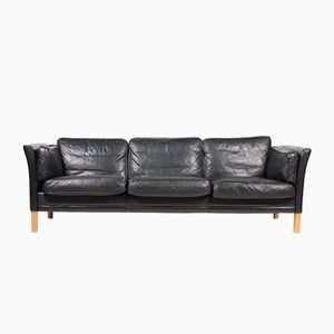 Vintage Danish Three-Seater Black Leather Sofa from Mogens Hansen, 1980s