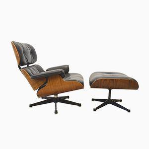 Palisander Sessel & Fußhocker von Charles & Ray Eames für Herman Miller, 1960er