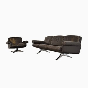 Vintage Swiss DS 31 Three-Seater Sofa and Swivel Lounge Armchair from de Sede, 1970s