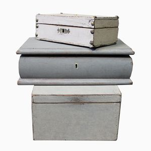 Gustavian Style Grey Painted Boxes, Set of 3