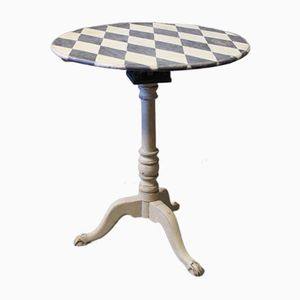Gustavian Style Grey Painted Side Table with Checkered Top, 1840s