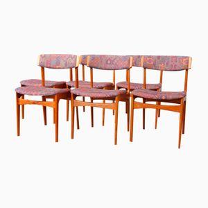 Dänische Vintage Teak Esszimmerstühle mit Geschwungener Lehne, 6er Set