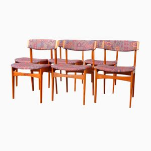 Vintage Danish Teak Dining Chairs with Curved Backs, Set of 6