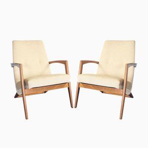 Vintage Scandinavian Teak & Beige Fabric Armchairs, Set of 2