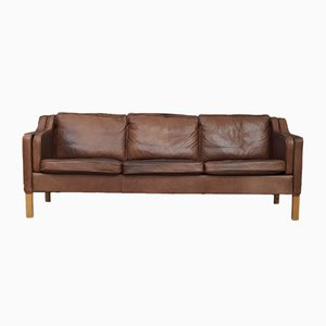 Brown Leather Three-Seater Sofa from Mogens Hansen, 1970s