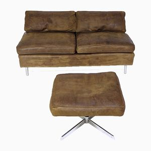 Vintage Leather Sofa and Stool from Tecta