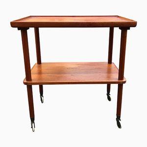 Table Vintage en Teck avec Bord Courbé