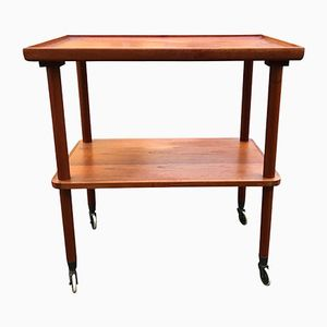 Vintage Teak Serving Table with Curved Edge