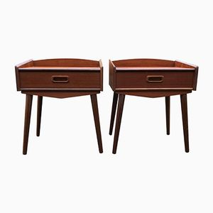 Vintage Danish Teak Bedside Tables, Set of 2