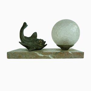 Lampe de Table Fish Art Déco en Bronze