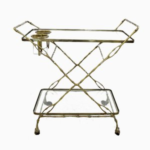 Vintage Faux Bamboo Brass Drinks Trolley