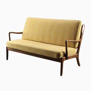 Dänisches Buchenholz und Wollbezug Zwei-Sitzer Sofa von Ole Wanscher für France & Søn, 1950er