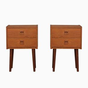 Danish Teak Night Stands, 1970s, Set of 2