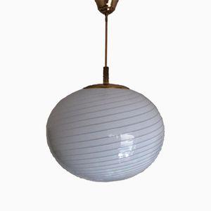 Large Oval Swirl White Striped Murano Glass Pendant from Venini, 1960s