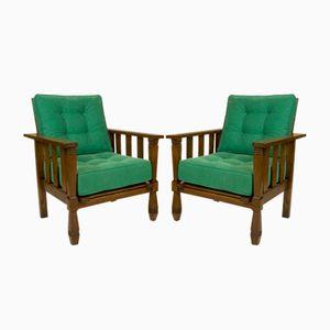 Grüne Vintage Sessel aus Holz von William Morris, 1920er, 2er Set