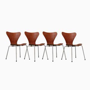 3107 Teak Stühle von Arne Jacobsen für Fritz Hansen, 4er Set