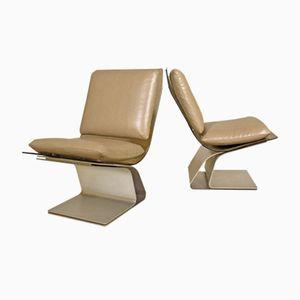 Französische Vintage Slipper Stühle von Maison Jansen, 1970er, 2er Set