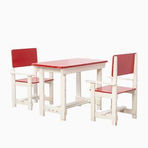 Vintage Holz Kindertisch & Stühle