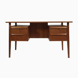 Vintage Danish Teak Desk with Drawers & Shelves
