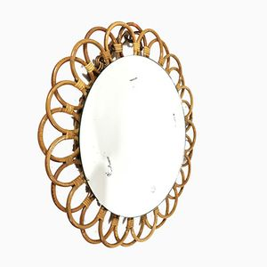 Round Bamboo Mirror from Art Vannerie RR, 1960s
