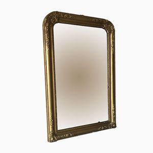 Großer Goldfarbener Vintage Spiegel aus Holz & Gips