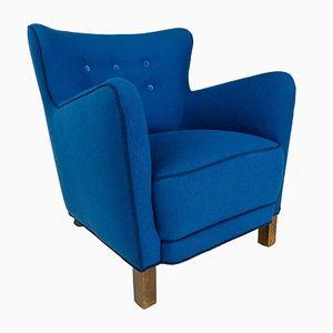 Blauer Dänischer Sessel von Fritz Hansen, 1940er